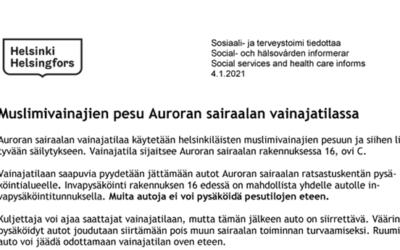 Muslimivainajien pesu Auroran sairaalan vainajatilassa